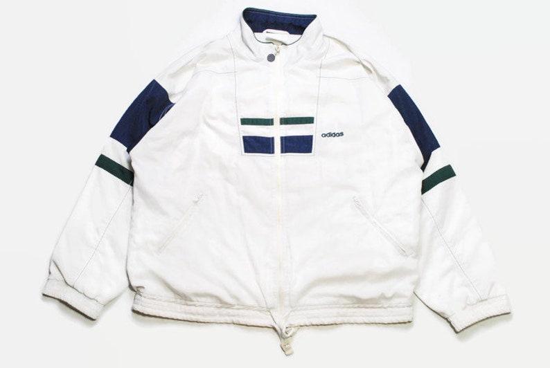 vintage ADIDAS ORIGINALS Track Jacket Size ML authentic white rare retro hipster 90s 80s germany rave athletic sport suit big logo vntg