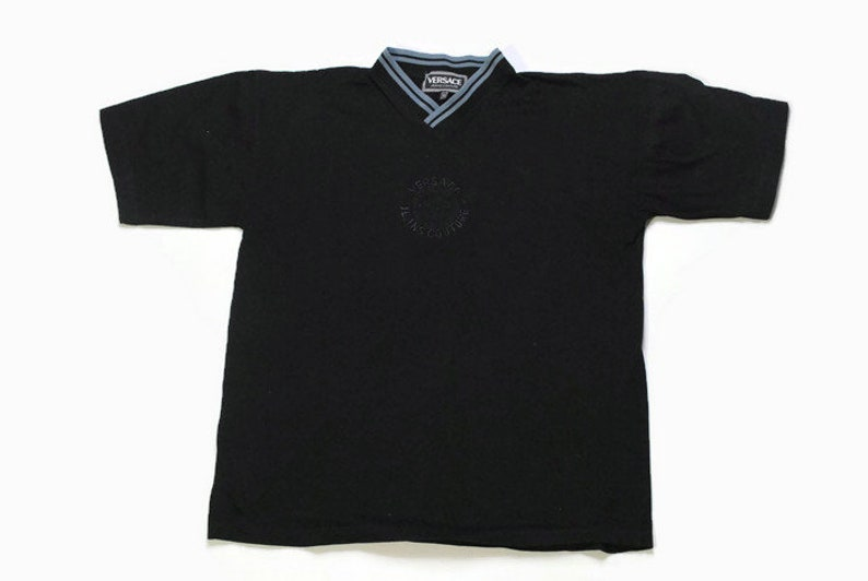 780f6808 Vintage VERSACE JEANS COUTURE t-shirt Medusa big logo black | Etsy