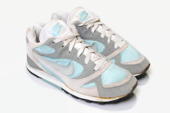 vintage NIKE Waffle City 1992 Sneakers chaussures de sport authentiques SIZE US6.5 EUR37.5 UK4 femmes sport rétro rare 90s 80s streetwear bleu gris