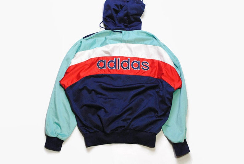 b511e4d631848 vintage ADIDAS ORIGINALS mens Nylon Hoodie authentic rare retro sweat with  hood Size S/M navy hipster rave sweatshirt 90s 80s running outfit