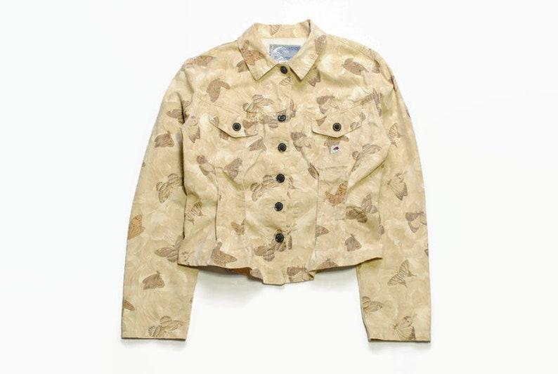 vintage KENZO Jeans women/'s beige jean jacket SIZE L authentic wave jeans denim floral butterfly pattern print art 80s 90s bomber button up