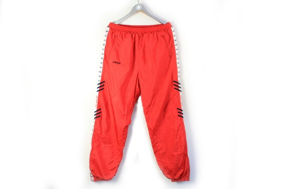 vintage ADIDAS men's Track Pants red full pant lo… - image 1