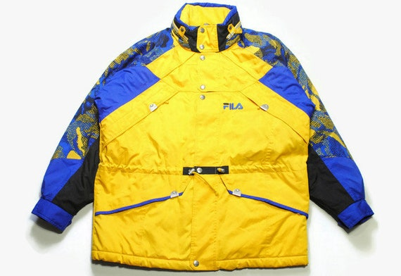 vintage FILA SKI Jacket Thermore Energy Saving Entrant Coat Jumpsuit size L authentic Thermal Coveralls 90s 80s 70s retro Coat acid colorway