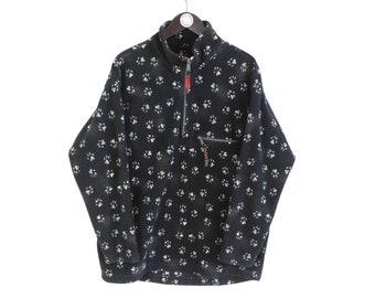 vintage JACK WOLFSKIN Fleece Sweater paws monogram Size S men's 1/4 zip black pullover outdoor winter warm retro 90's ski style mountains