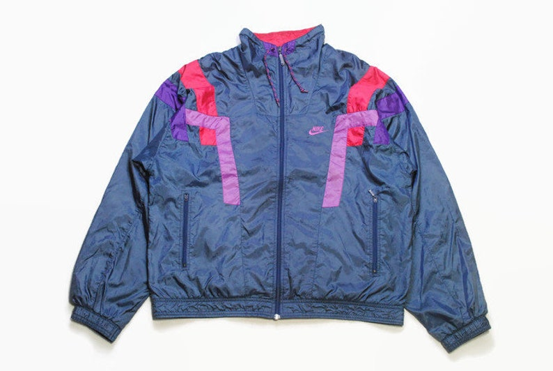 fa5e757874414 vintage NIKE authentic track jacket Size M purple blue rare retro rave  hipster sport athletic 90s 80s casual hip hop running streetwear logo