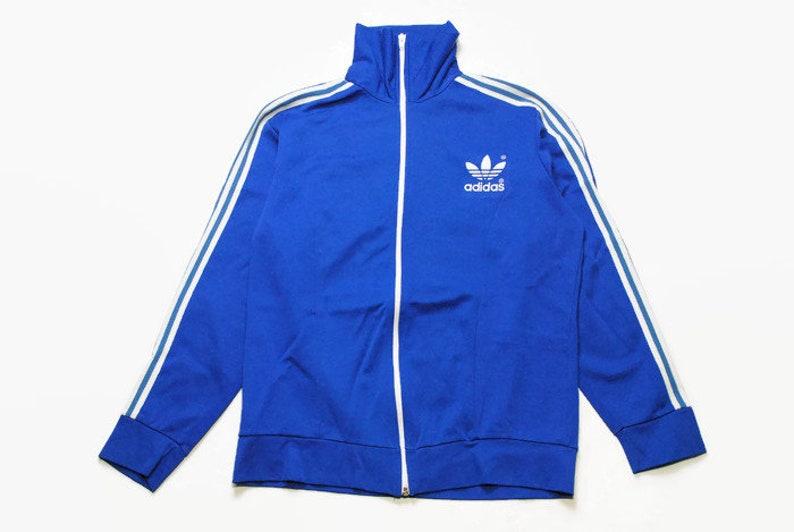 25b22a46d9581 vintage ADIDAS ORIGINALS classic blue logo Track Jacket Size M authentic  rare retro hipster 90s 80s germany rave athletic sport suit acid