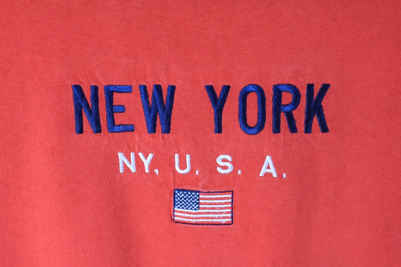 vintage NEW YORK USA Delta T-Shirt big embroidery logo authentic rare retro sport cotton tee Size Xl athletic wear 90s 80s outfit style red