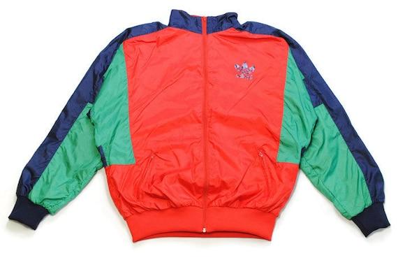 vintage ADIDAS ORIGINALS men's track jacket SIZE L authentic red green blue rare retro acid rave hipster bomber trackjacket suit 90s 80s