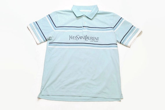 cheap new list cheap prices vintage YVES SAINT LAURENT Pour Homme big logo polo t-shirt Size mens L  rare retro outfit hipster clothing rave luxury streetwear 80 90s tee