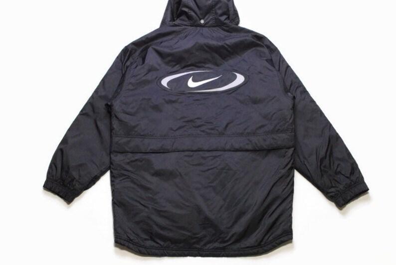 Vintage NIKE große Logo authentische Jacke Größe SM schwarz Kapuze seltene retro Rave Hipster Sport athletischen 90er Jahre 80er Jahre lässig