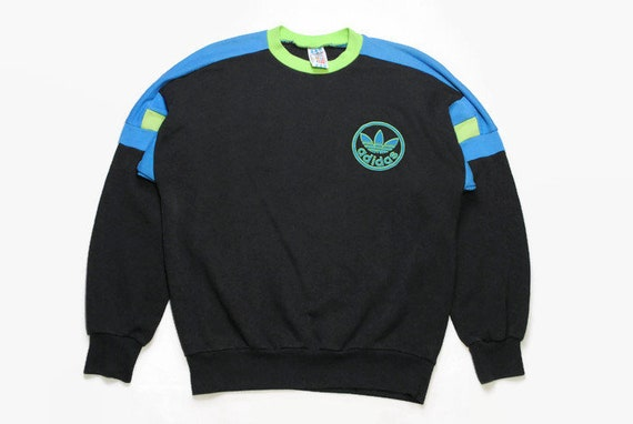 c79930561bae6 vintage ADIDAS ORIGINALS men's sweatshirt authentic rare retro sweat logo  Size S/M black blue hipster rave sport wear 90s 80s running outfit