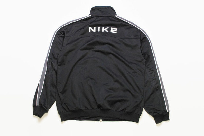 vintage NIKE authentic track jacket Size M black rare retro rave hipster  sport athletic 90s 80s casual hip hop running streetwear back logo
