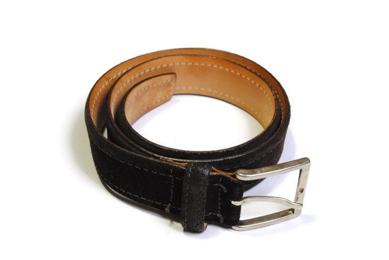 d13f7433 authentic Ermenegildo Zegna suede leather belt Size 91 cm brown made in  Italy