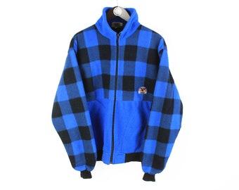 vintage SALEWA FLEECE Full Zip Sweater blue men's Size L authentic retro made in England winter outdoor ski sport warm plaid pattern style