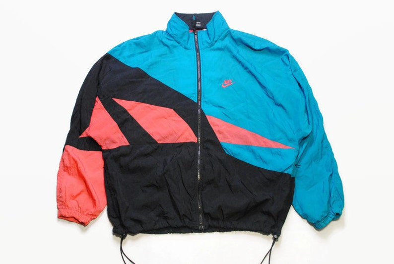 338427a9c1493 vintage NIKE authentic track jacket Size L black blue rare retro rave  hipster sport athletic 90s 80s casual hip hop running streetwear logo