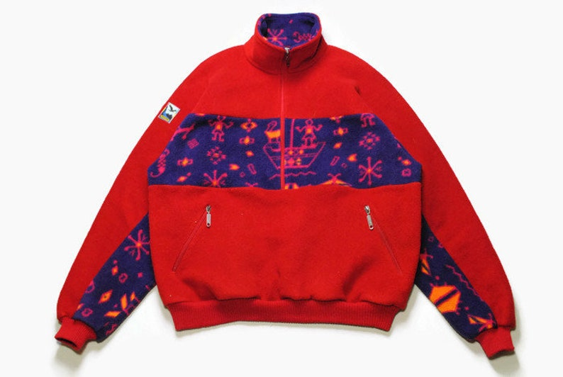 0e98f4dfd2993 vintage SALEWA FLEECE oversized men's Size XL red blue authentic sweater  acid 90s 80s rare retro hipster winter rave outdoor rave sport vntg