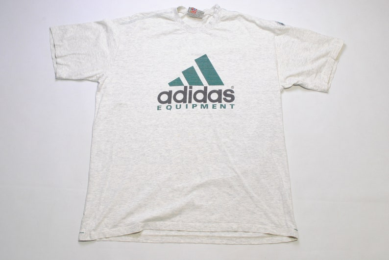 1aff8e28e648c vintage ADIDAS EQUIPMENT big logo T-Shirt gray green Size XL mens rare 90s  80s hipster hip hop Germany style retro wear oversized summer tee