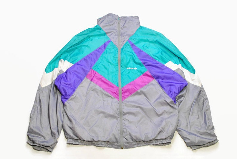 a502497f3adaa vintage ADIDAS ORIGINALS Track Jacket Size L authentic green gray rare  retro hipster 90s 80s germany rave athletic sport suit small logo vtg