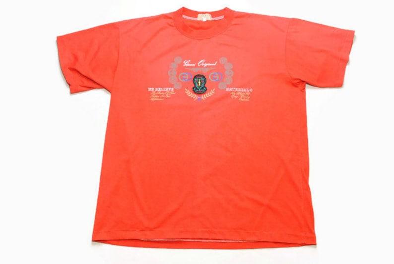 b447565592f Vintage GUCCI authentic T-Shirt red big front logo Size mens L