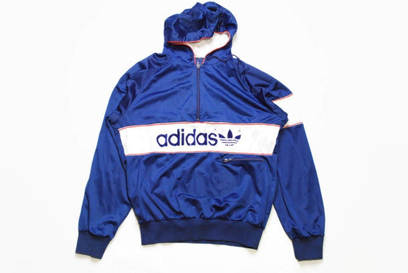 4fa6e1c212dd2 vintage ADIDAS ORIGINALS mens Nylon Hoodie authentic rare retro sweat with  hood Size M blue hipster rave sweatshirt 90s 80s running outfit