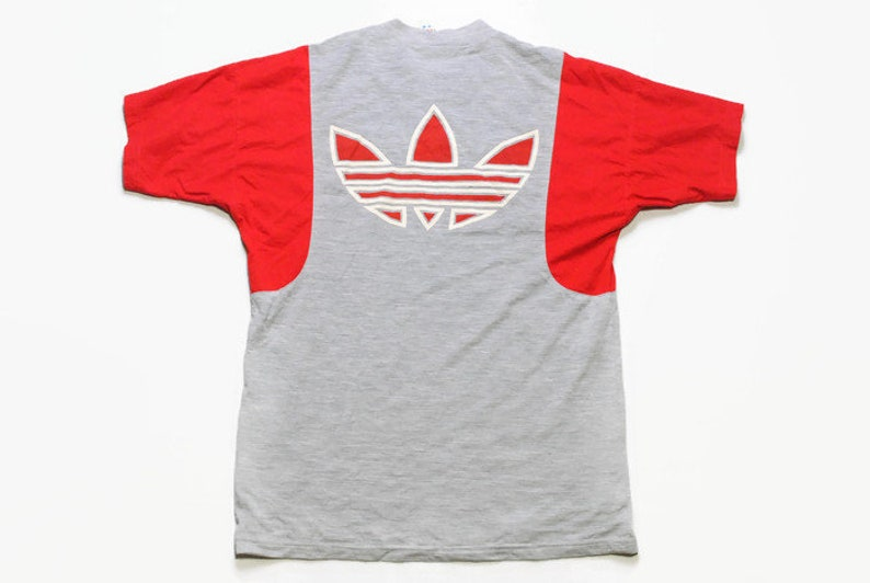 6ce25c4ccc55d vintage ADIDAS ORIGINALS big logo T-Shirt gray Size S/M men rare 90s 80s  rave hipster hip hop retro oversized vntg summer tee top streetwear