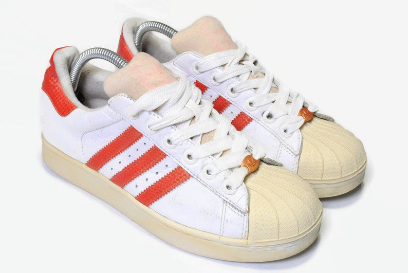 low priced 1b2ea 090dd vintage ADIDAS SUPERSTAR authentic white red sneakers Size US7 FR40 men's  rare retro basketball athletic shoes 90s 80s classic hipster wear