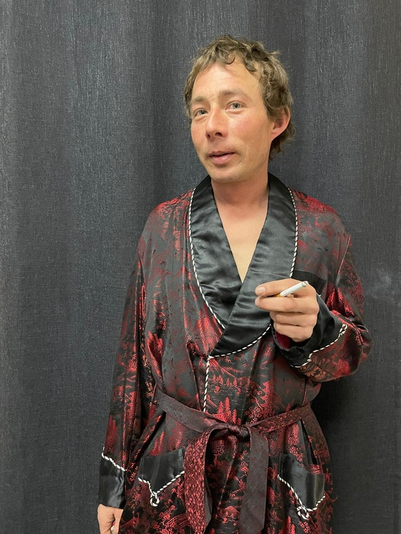 Mens Smoking Jacket, Smoking Jacket robe, Vintage