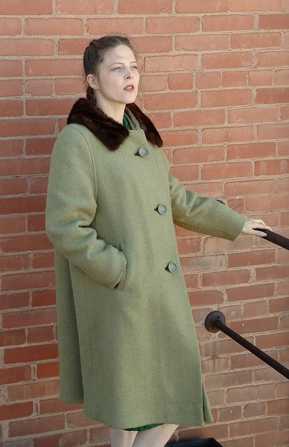 Sage Green Wool Coat with Fur Collar, Fur Collar C