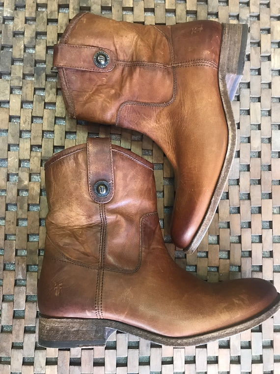 Frye Brown Leather boots, Vintage Frye Cowboy boot