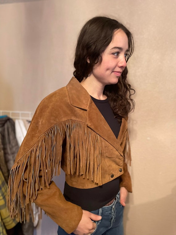 Tan suede jacket with fringe, Vintage leather frin