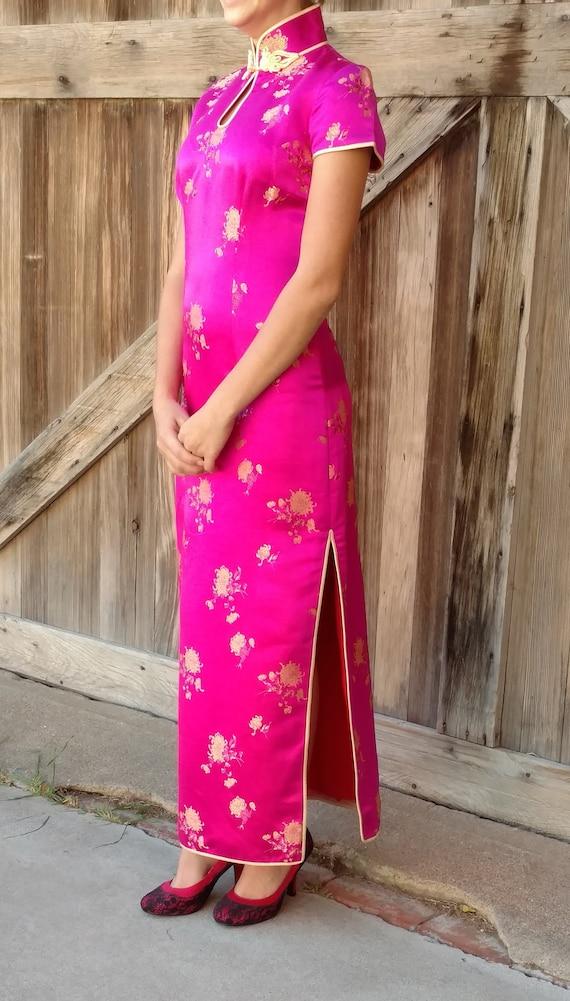 Pink Cheongsam Dress, Silk Qipao Dress, Asian Dres