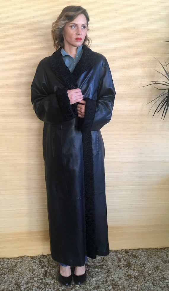 Black Leather Coat, Women's Vintage coat, leather