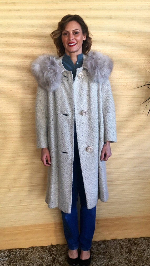 Tweed coat womens, Fur Trim coat womens, Vintage w