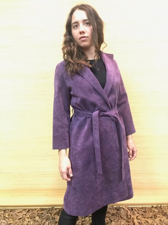 Ultra-suede Wrap Trench Coat,Size SM, Purple Wrap