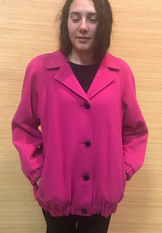Wool Blend coat womens, Vintage Outerwear, Pink Wo