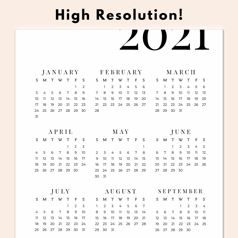 2021 Kalender druckbare Jahr auf einen Blick Kalender | Etsy