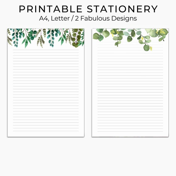 Green Leaves Printable Stationary Printable Writing Paper