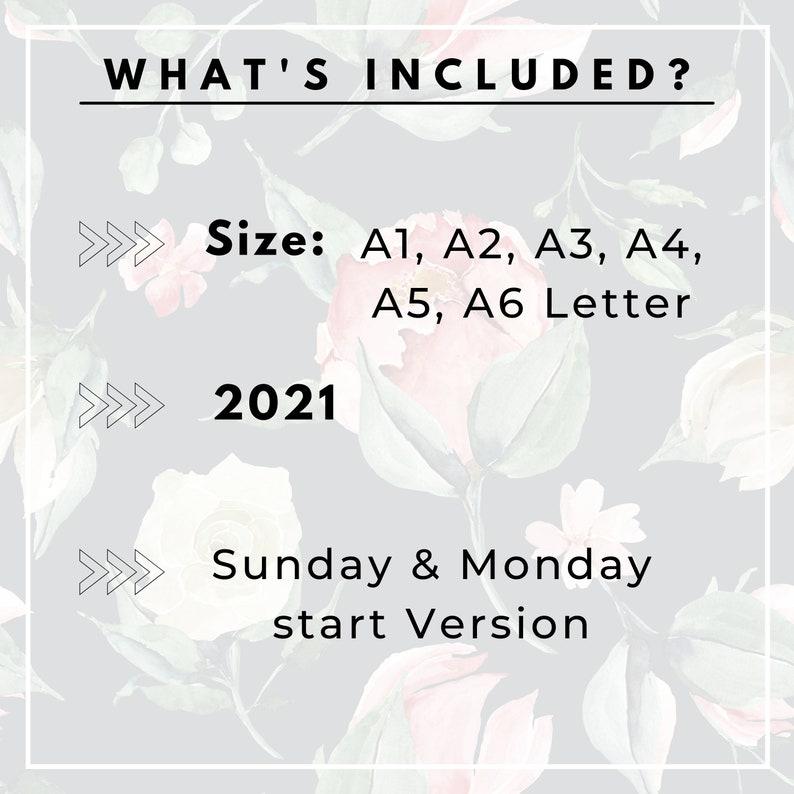 2021 Wall Calendar 2021 Printable Calendar Desk Calendar ...