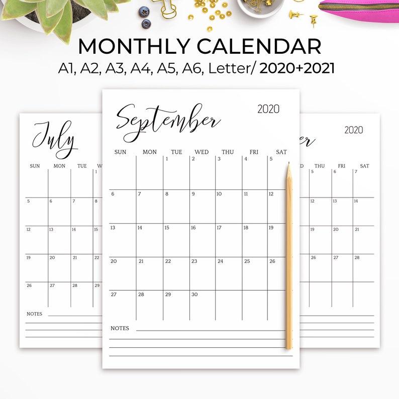 2020-2021 Printable Calendar Large Wall Calendar 2021 Desk ...