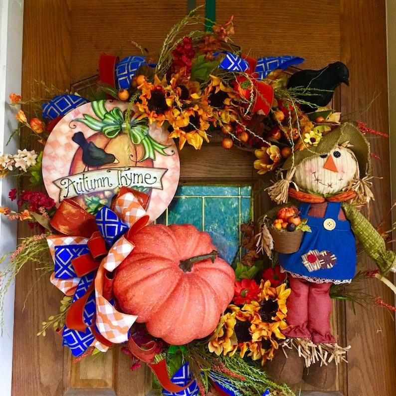 Halloween Wreath. Thanksgiving Wreath Pumpkin Wreath XL Fall Wreath Autumn Wreath Scarecrow Wreath Rustic Fall Wreath Fall Wreath