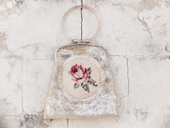 Needlepoint / Needlepoint Bag / Floral Purse / Cro