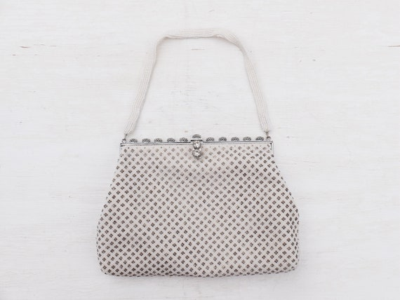 Beaded Bag / White Beaded Purse / Vintage Beaded B
