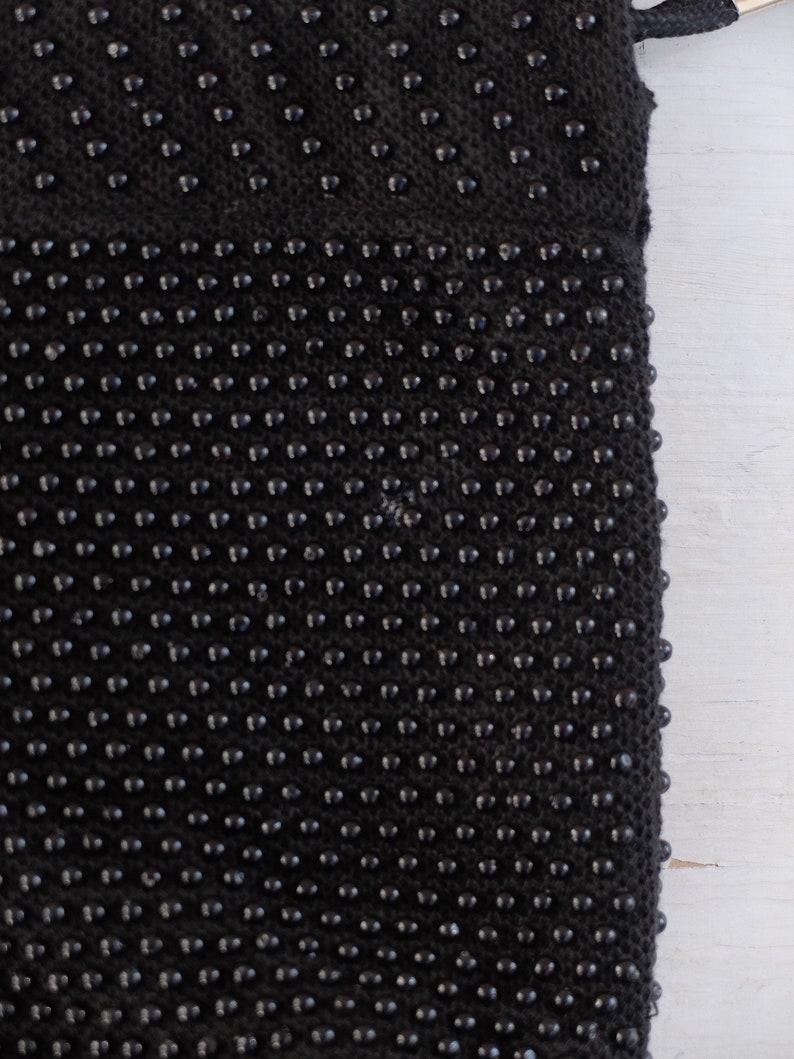 Drawstring Bag  Beaded Bag  Black Beaded Bag  Black Beaded Purse  Candy Dot Purse  Drawstring Purse  Reversible Purse  Boho Bag