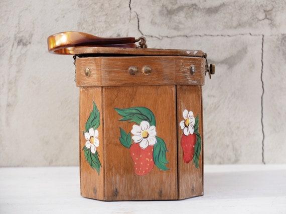 Box Purse / Strawberry / Strawberry Bag / Wooden … - image 4