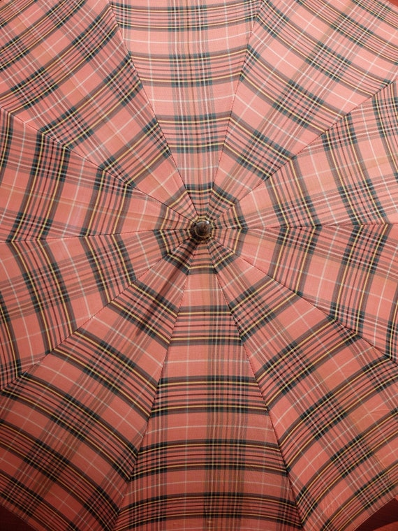 Vintage Umbrella / Pink Umbrella / Plaid Umbrella