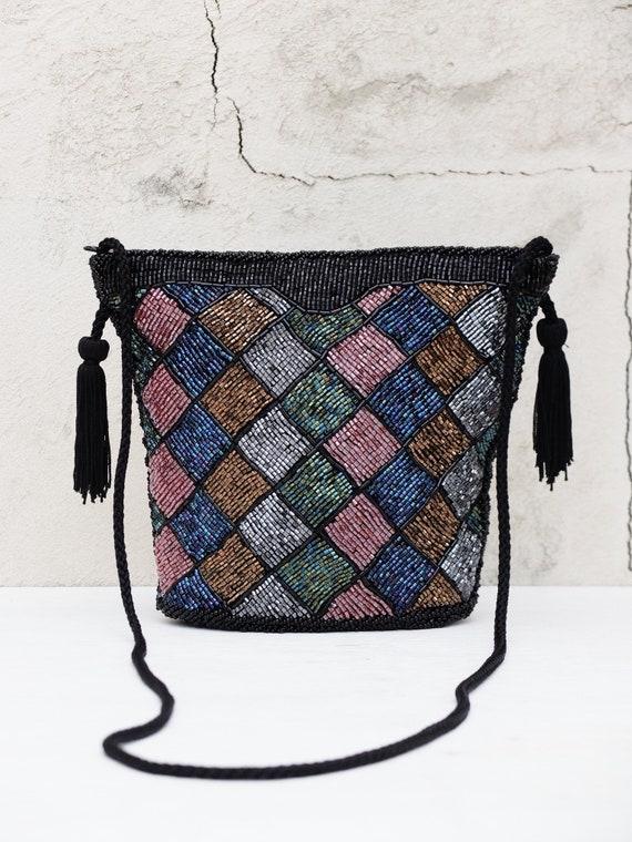 Vintage Evening Bag / Crossbody Bag / Beaded Bag /