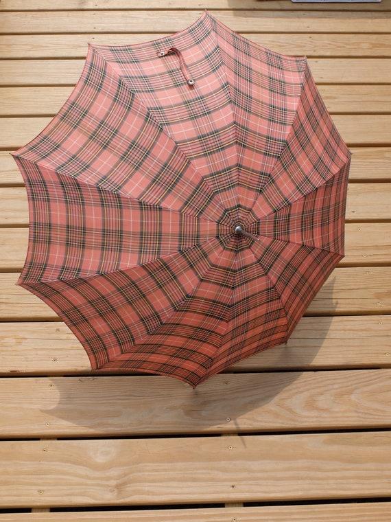 Vintage Umbrella / Pink Umbrella / Plaid Umbrella… - image 3