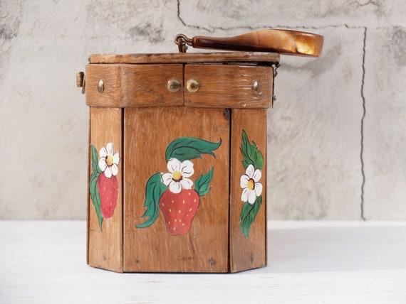 Box Purse / Strawberry / Strawberry Bag / Wooden … - image 2