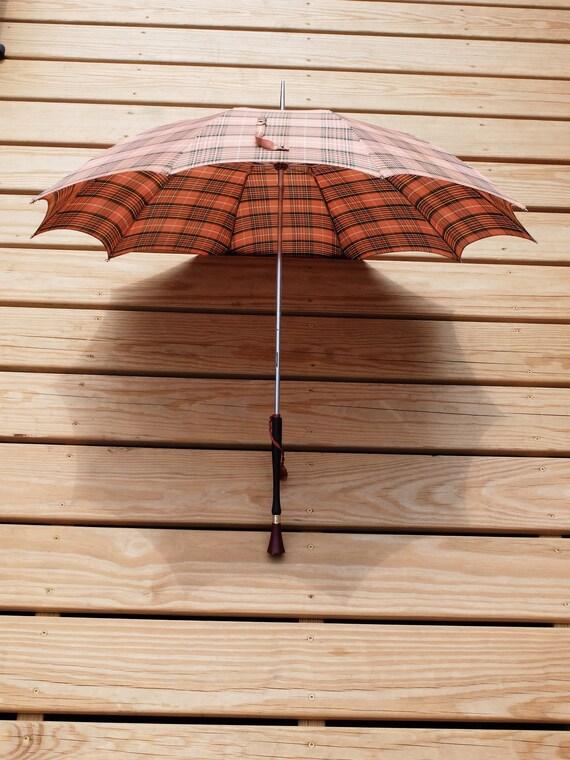 Vintage Umbrella / Pink Umbrella / Plaid Umbrella… - image 2