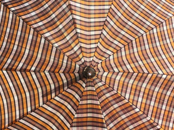 Vintage Umbrella / Plaid Umbrella / Orange Umbrell